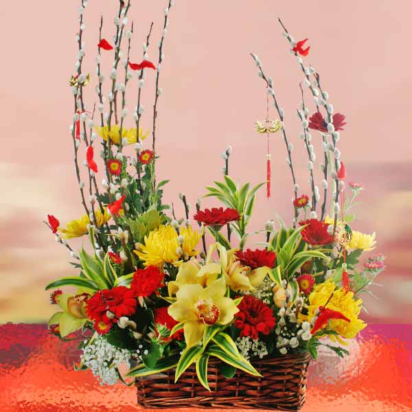 Cymbidium Orchid & Gerbera Flowers Basket Arrangement