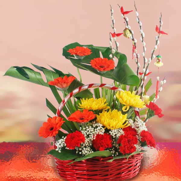 Yellow Chrysanthemum & Gerbera Flowers Basket