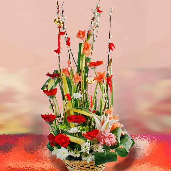 Chinese New Year Flowers Basket Arrangement