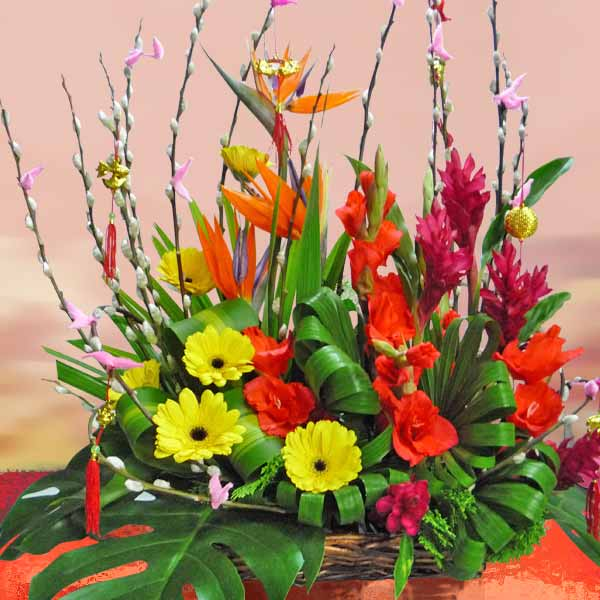 Chinese New Year Flower Basket Arrangement