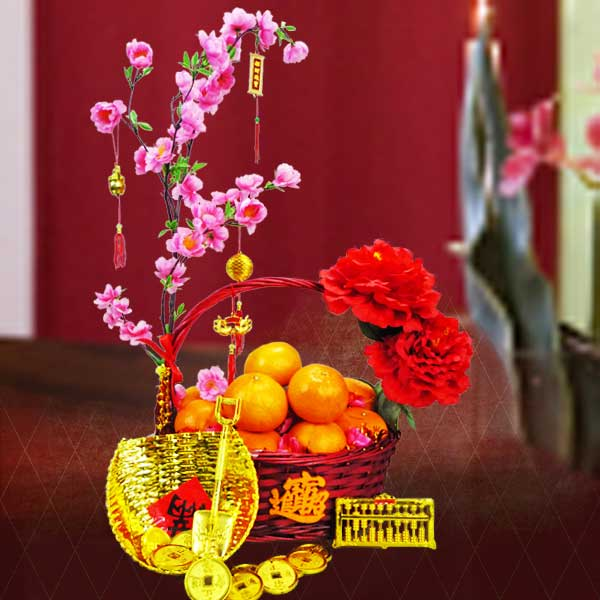 8 oranges with Artificial new year Flowers Basket Arrangement