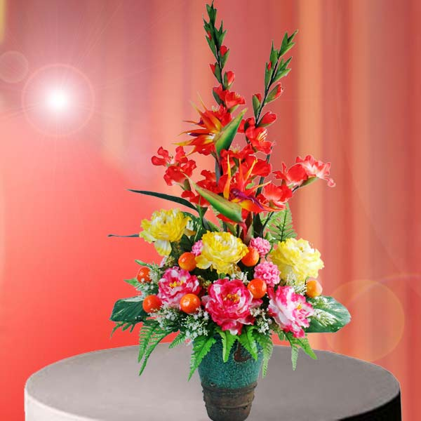 Artificial Peony Flowers Table Arrangement
