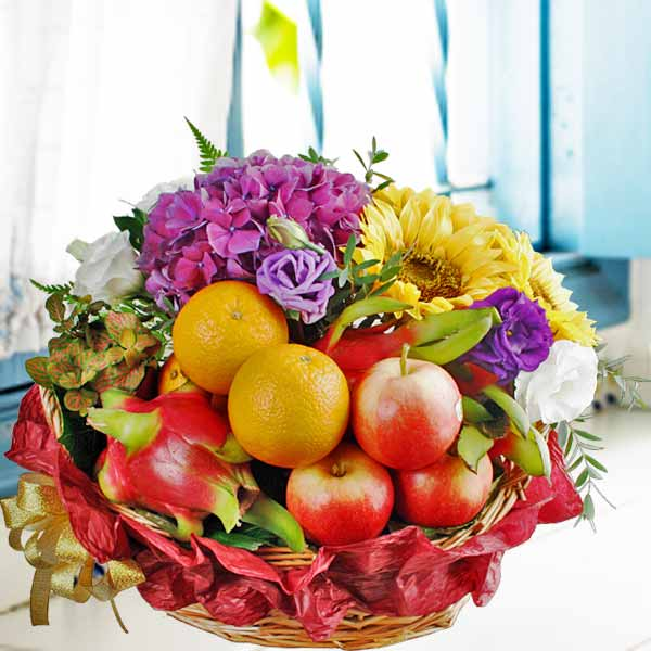 Artificial Hydrangea, Fresh SunFlower, Small Plant With Fruits Basket Arrang
