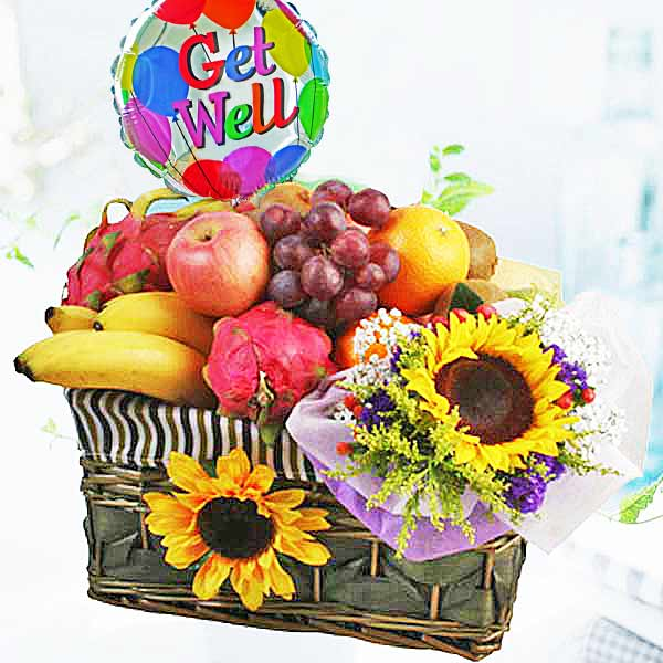 Sunflowers Bouquet & Mixed Fruits Basket Arrangement
