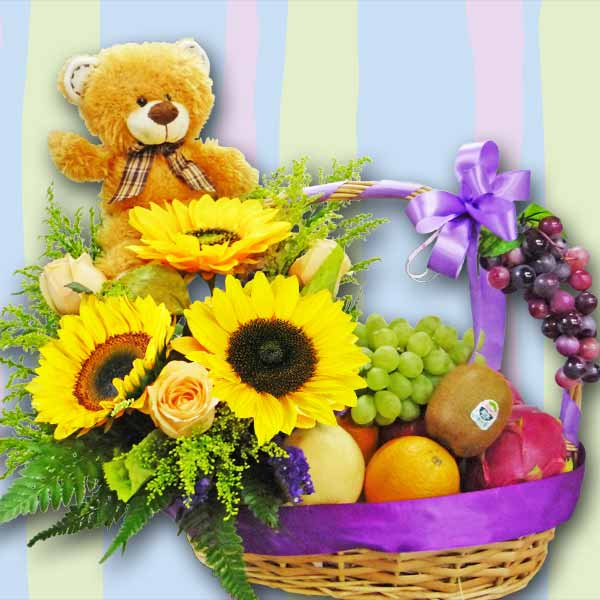 SunFlowers, Mixed Fruits & Bear Basket Arrangement