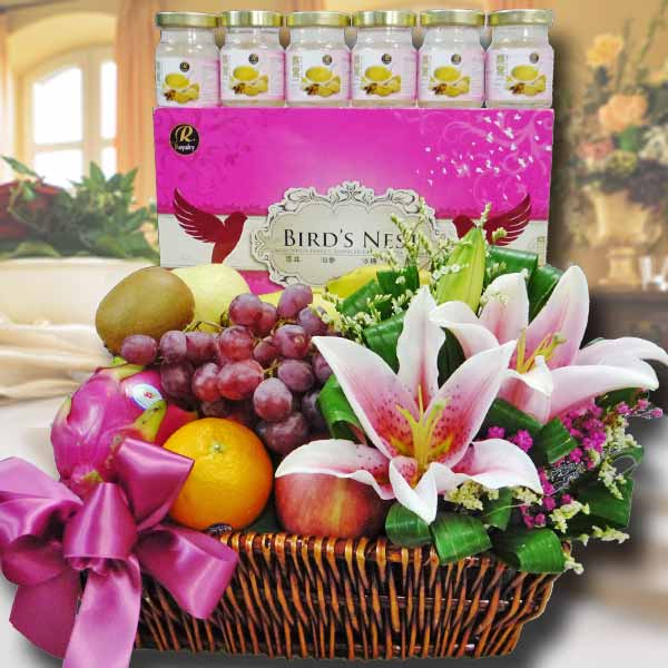 Flowers & Fruits Basket With 6 Bird