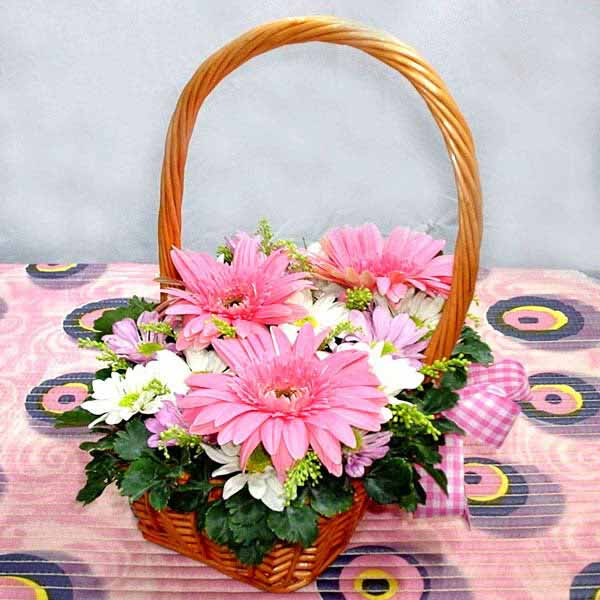 Pink Gerbera & Daisy In Small Basket.
