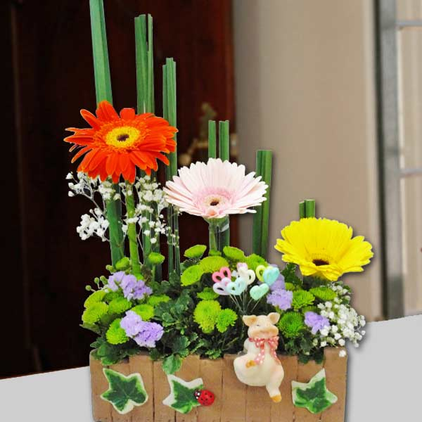 5 Yellow Gerbera Table Arrangement