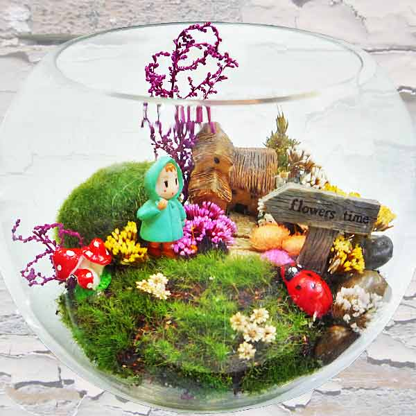 Dried Flowers Terrarium in Glass Bowl 10cm Height