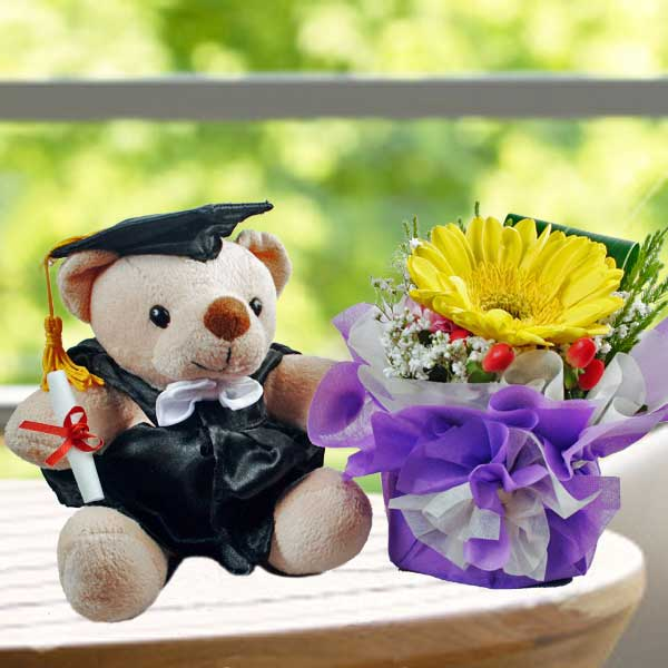 "6"" Graduation Teddy Bear with Yellow Gerbera"