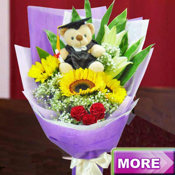 Graduation Bear & Flower