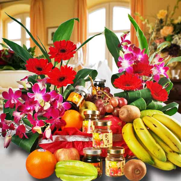 Fruits and Flower Basket with Chicken Essence - Halal