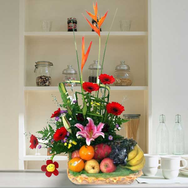 Red Gerbera with Pink Lily Fruits Basket Arrangement