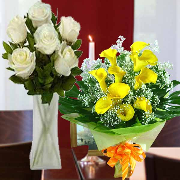 10 Calla Lily Yellow & 8 White SUPER Roses with Babybreath in Glass Vase del