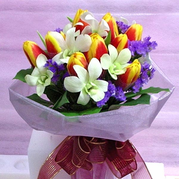 2 Tone Yellow-Red Tulips mixed with White Orchids Handbouquet