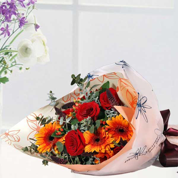 Red Roses & Orange Gerbera Bouquet Delivery