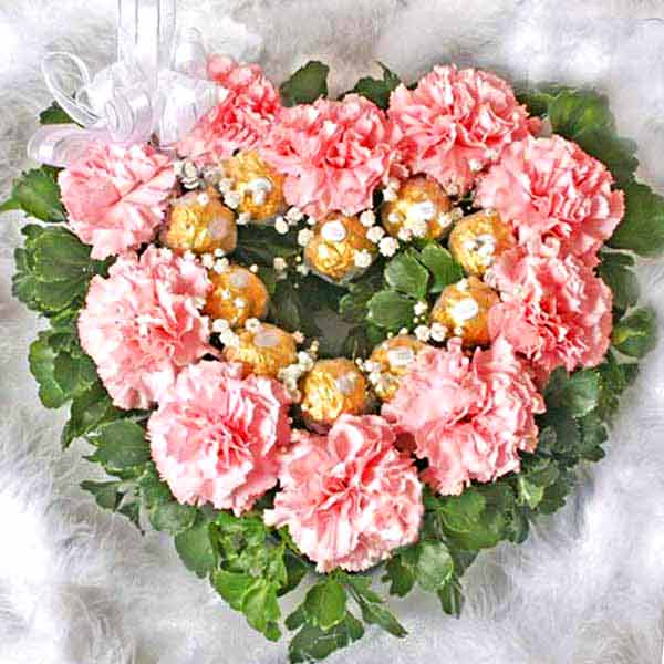 10 Pink Carnations & 10 Ferrero Rocher Heart-Shape Table Arrange