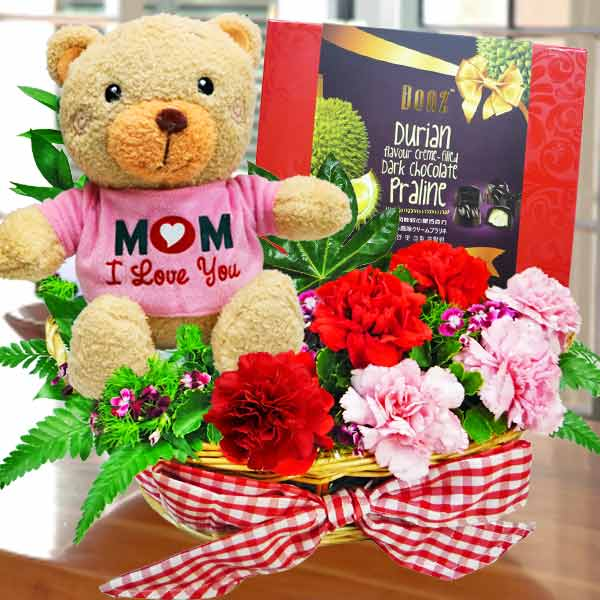 """MoM-i-Love u"" Bear, Carnations with Chocolate"