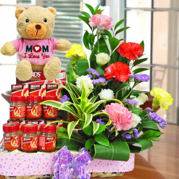 (Mom I Love U) 20cm Bear With Carnations & bird