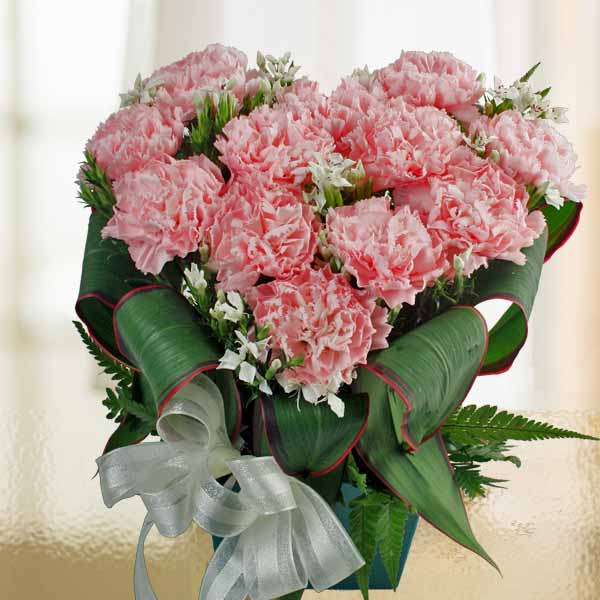 12 Pink Carnations Heart-Shape Arrangement