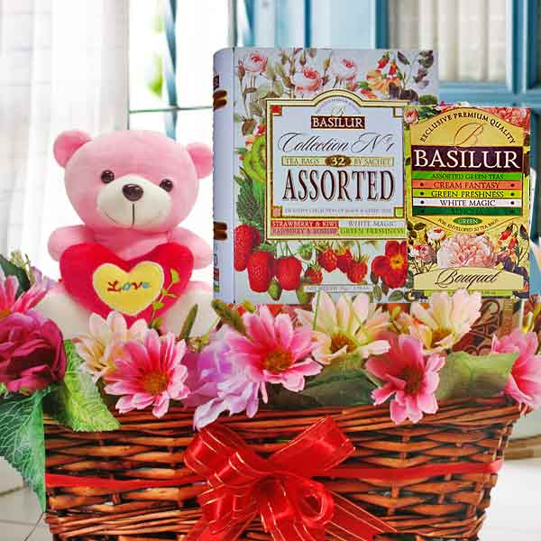 Tea x 2 Tins, Bear & Artificial Flowers Gift Basket