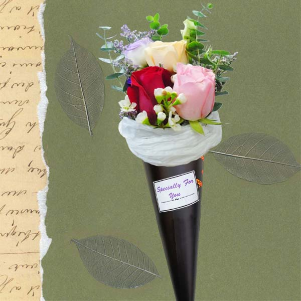Ice Cream Cone 3 Mixed Roses Bouquet.