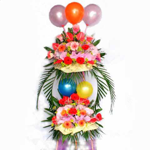 Mixed Gerbera 2 tiers arrangement with 3 Balloon