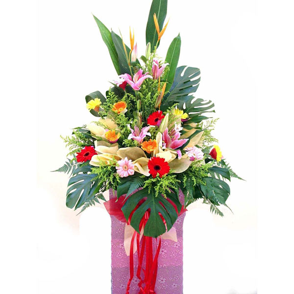 Pink lily and Mixed gerbera arrangement 6 feet height