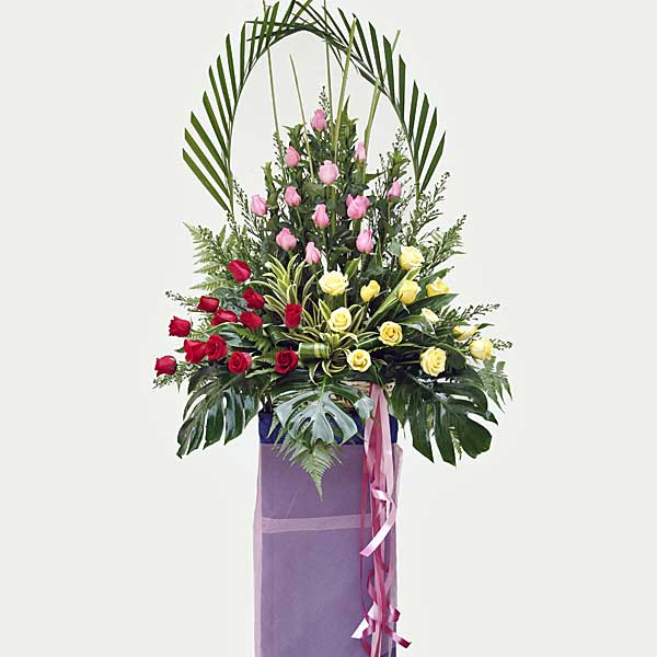 36 Mixed Roses Opening Stand Arrangement