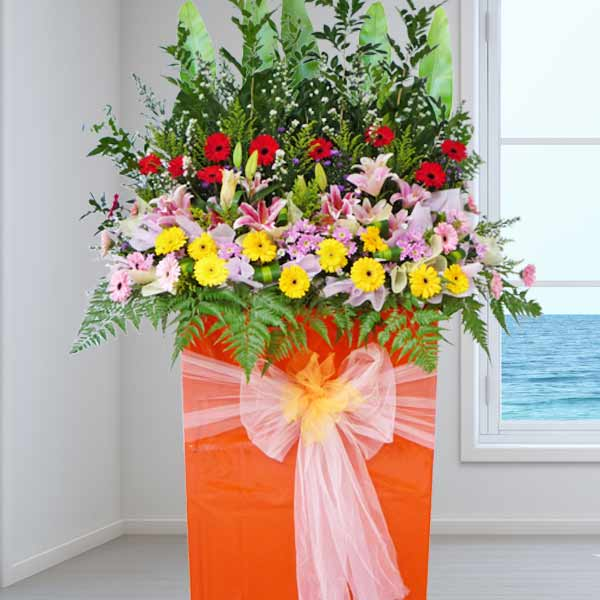 Grand Opening Stand Lilies Flowers Arrangement