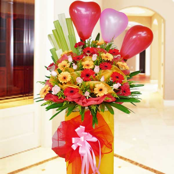 10 Roses & 20 Gerberas Opening Flowers Stand