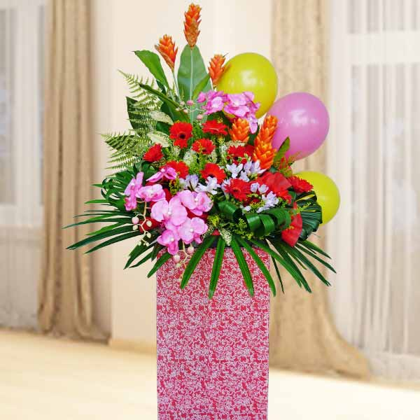 Artificial Orchids & Ginger Flowers With Fresh Gerbera Flowers