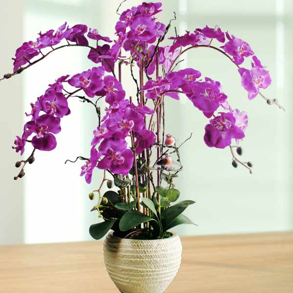 Artificial Phalaenopsis Purple Orchid Arrangement