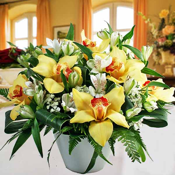 Cymbidium Orchids Centerpiece Arrangement