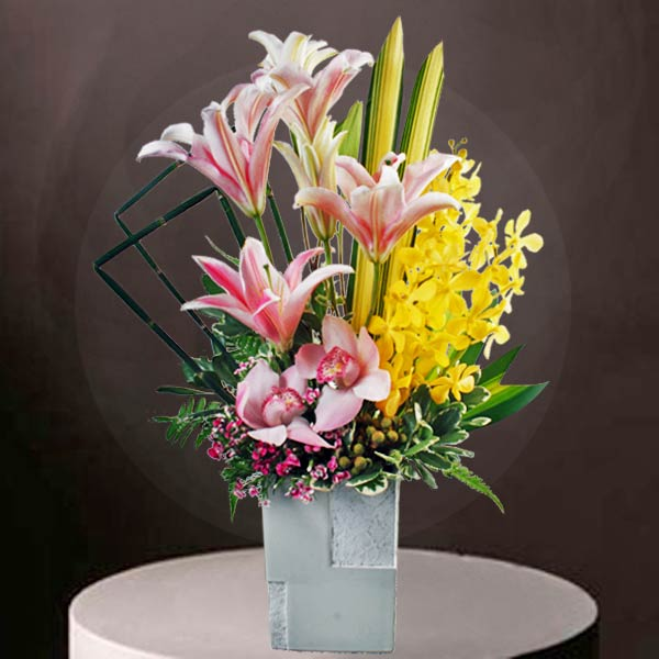 Orchids & Lilies Table Arrangement