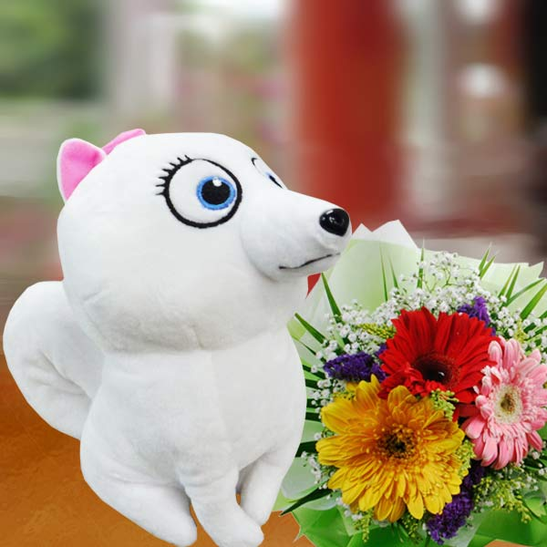 18cm Snow-White Puppy & 3 Mixed Gerbera Bouquet