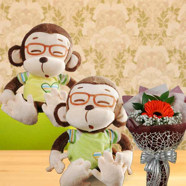 30cm Plush Monkey ( Choose One Only ) & Gerbera Bouquet
