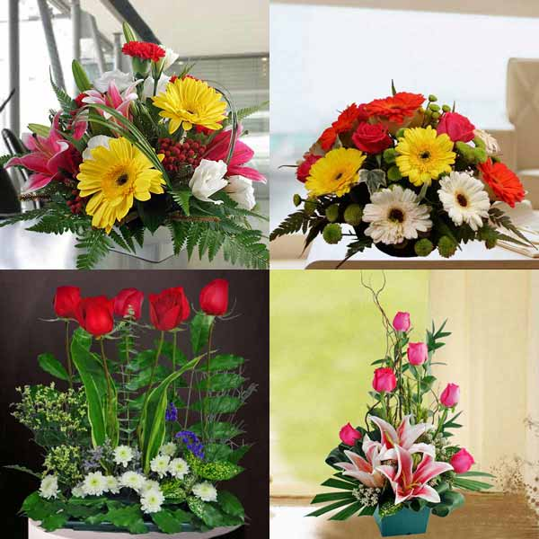 Fresh Flowers Arrangements 4 in 1 Package 1
