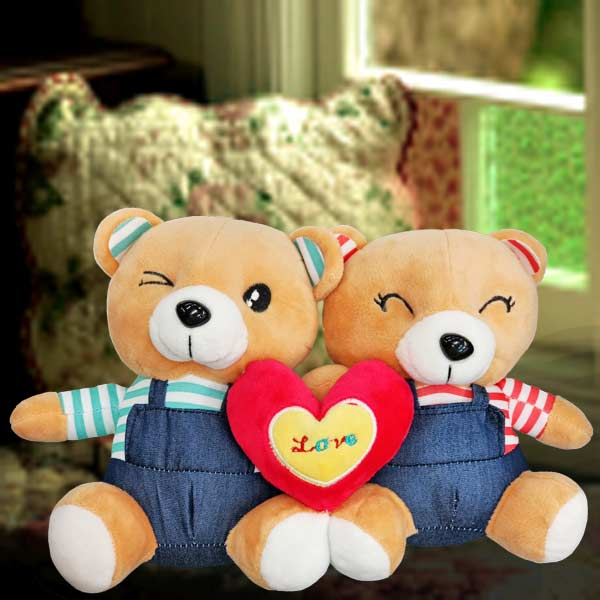 Add-On 15cm ( I Love U) Couple Bear