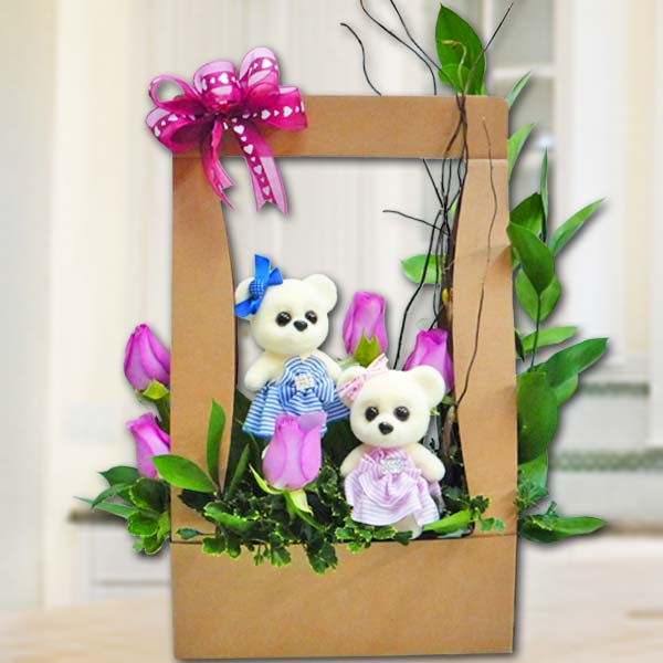 Bear & 5 Purple Roses Arrangement