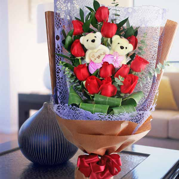 12 Red Roses Bouquet & Bears 一生一世爱你