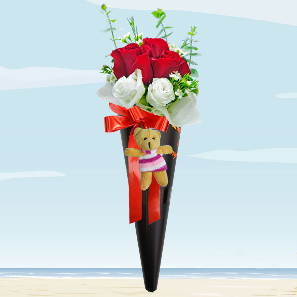 Ice Cream Cone 3 Red Roses Bouquet With Mini Bear