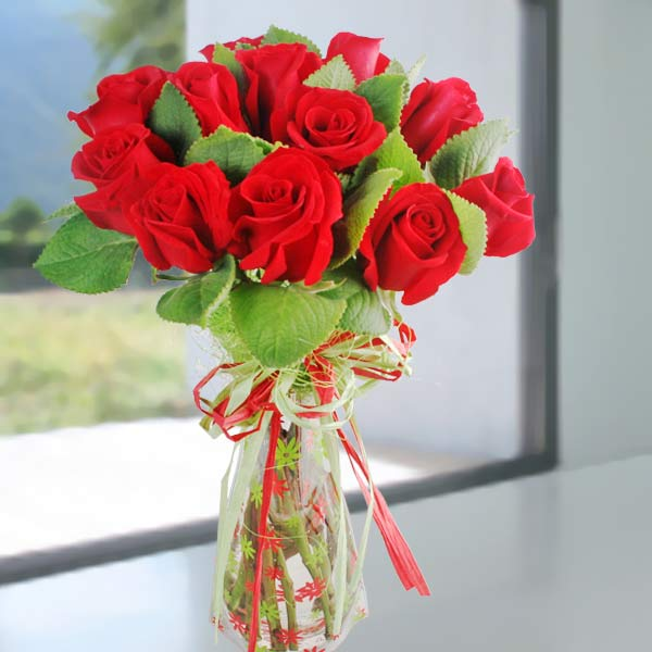 Mint Leaves & Red Roses Bouquet
