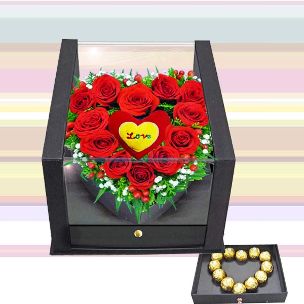 12 Red roses With 12 Rocher in the drawer