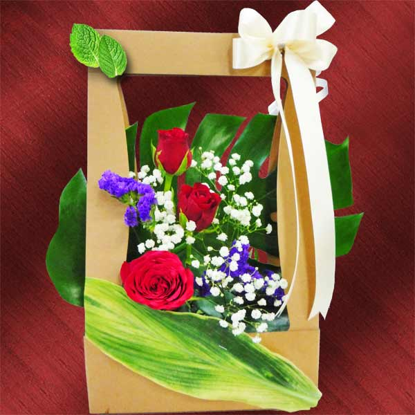 3 Red Roses Arrangement in Hand Carry Style