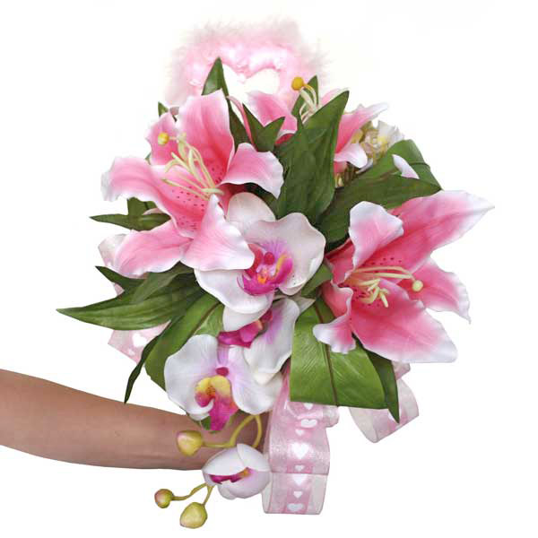 Phalaenopsis Orchid & Pink Lilies Artificial Posy
