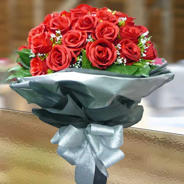 50 Artificial Red Roses Hand Bouquet Delivery