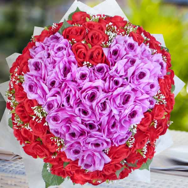 Artificial 99 Mixed Roses Hand Bouquet