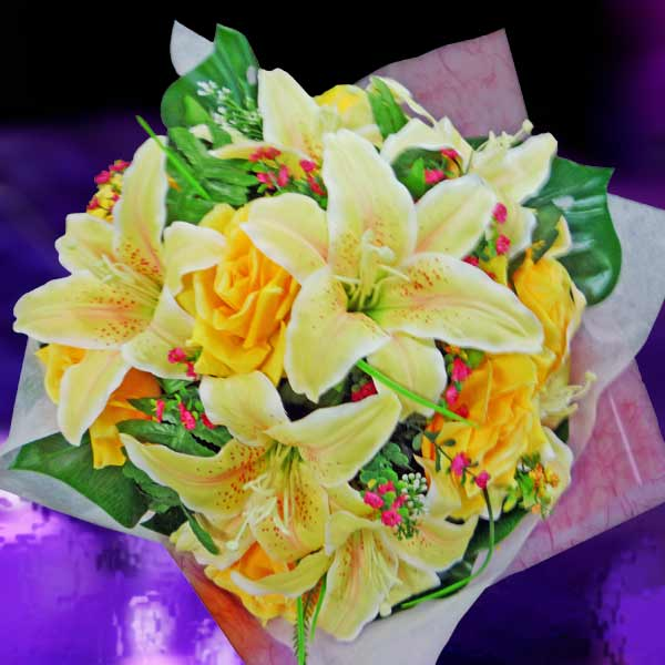 Artificial Yellow Lilies & Roses HandBouquet