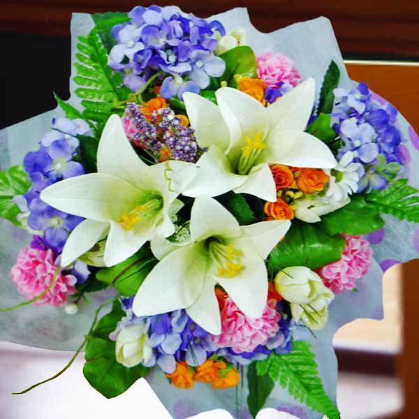Artificial Hydrangeas & Lilies Hand Bouquet